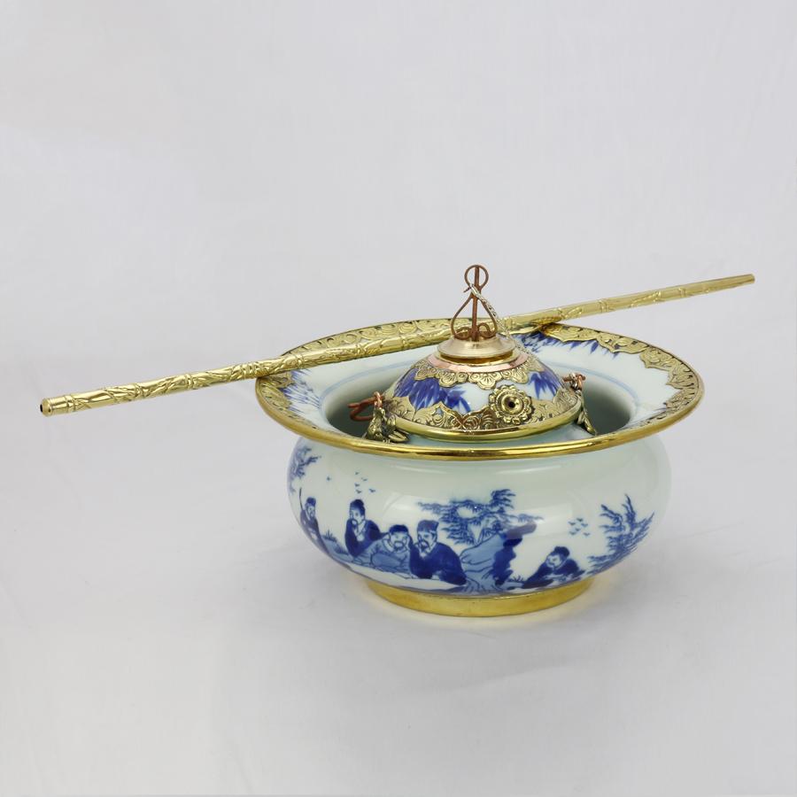 Điếu bát men lam bọc đồng vẽ Trúc Lâm Thất Hiền chính hãng gốm sứ Bát Tràng - điếu hút thuốc lào cao cấp