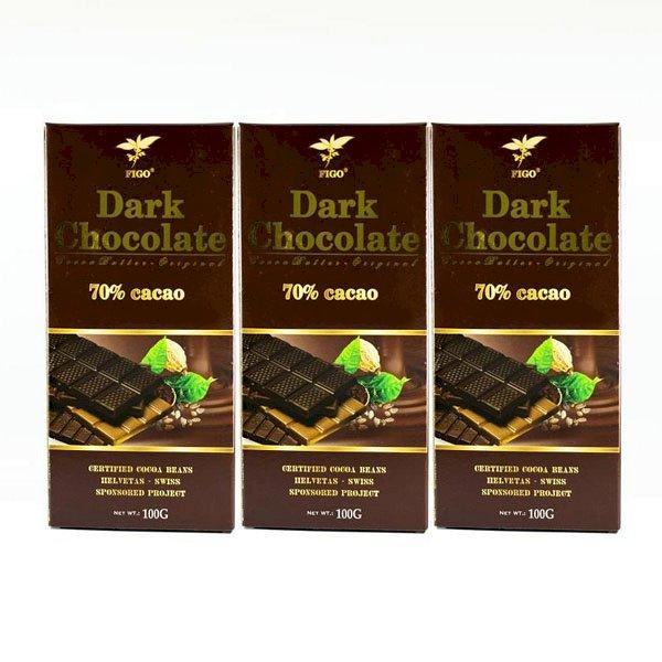 Combo 3 thanh Kẹo Socola đen 70% cacao Figo 100g