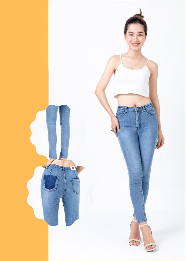 Quần jean nữ xanh ngọc túi kiểu dáng chuẩn