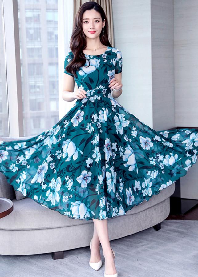 Đầm Xòe Dài In Hoa Màu Xanh Dịu Dàng Siêu Việt TT - TGT1995