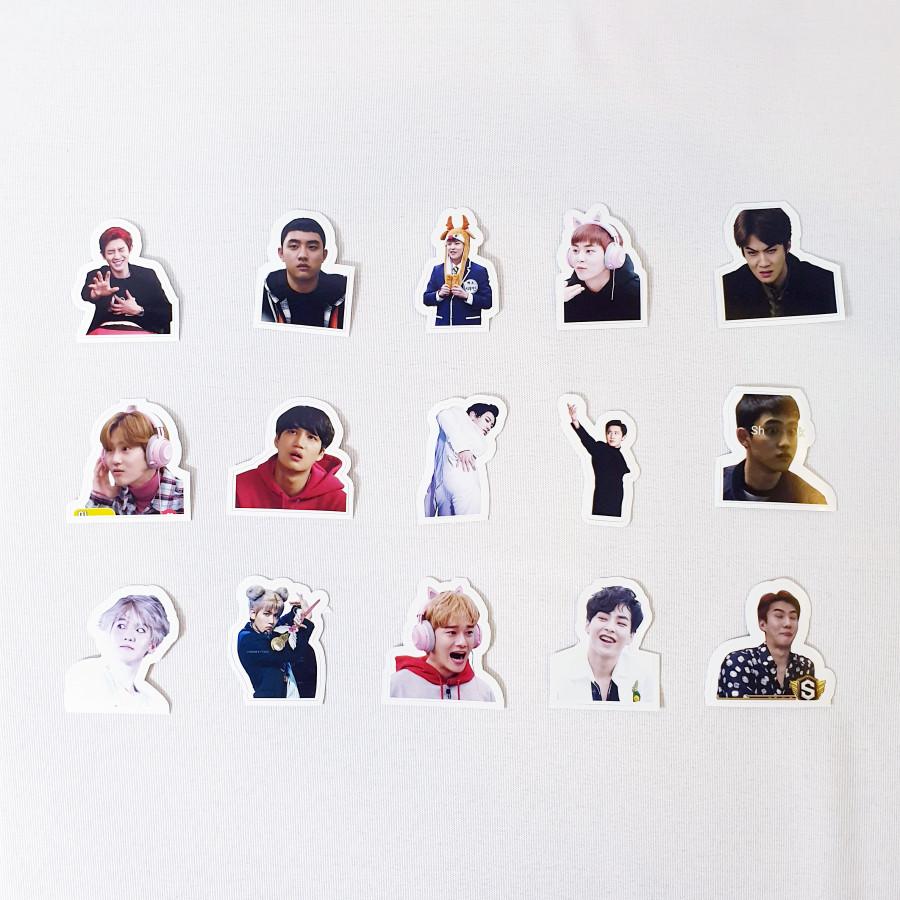Bộ 15 sticker nhóm nhạc Hàn Quốc EXO - Mini Pack 7