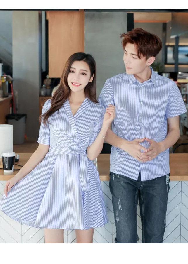 Bộ áo váy đôi sơ mi xòe sọc nhỏ xanh nhạt AV11