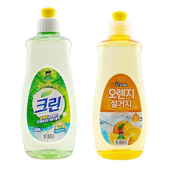 Bộ 2 Chai nước rửa chén bát Sandokkaebi Hàn Quốc 500g (Mùi hương ngẫu nhiên)