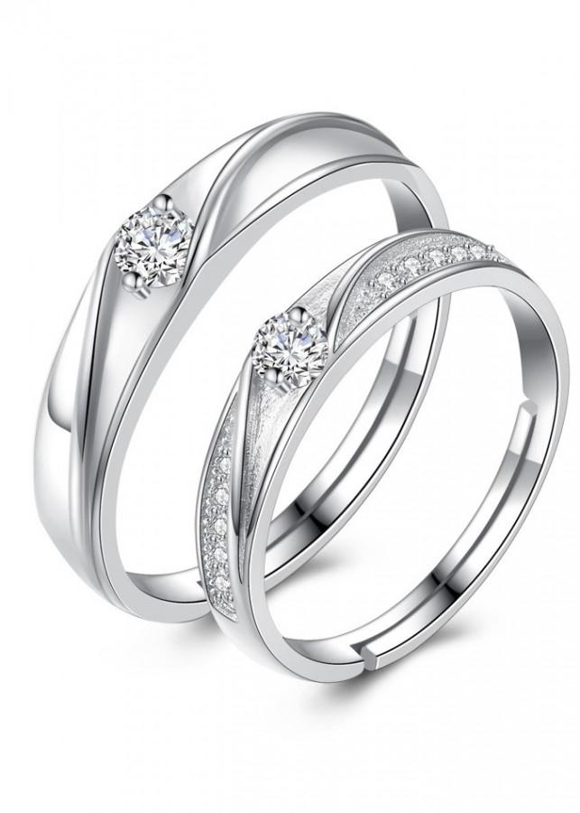 Nhẫn đôi tình nhân Bạc 925 tặng kèm hộp nhung - RC08