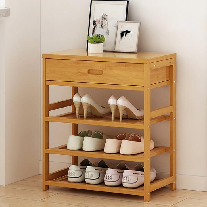 Kệ giày bằng tre 3 tầng có ngăn tủ trên 50x25x58 RE0408