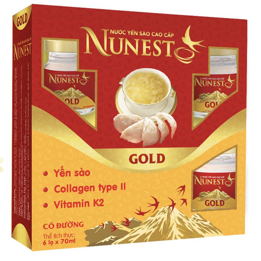 Hộp yến sào cao cấp collagen vitamin K2 có đường Nunest Gold (6 lọ x 70ml)