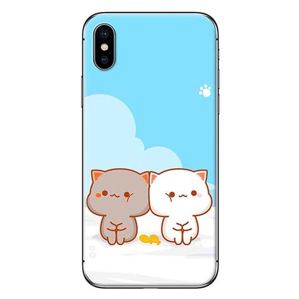 Ốp Lưng Dành Cho iPhone X - Mẫu  Mèo Mập Nền Xanh