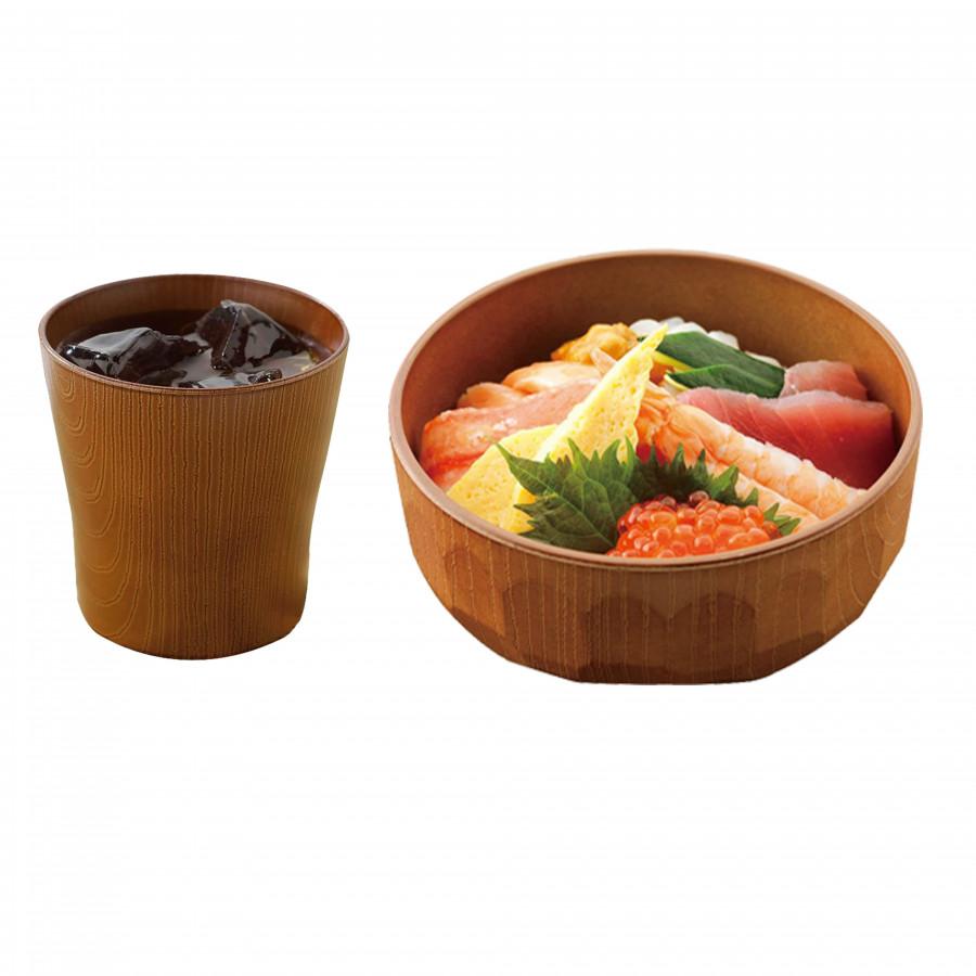 Combo 1 ly uống nước và 1 chén ăn cơm Nhật Bản sơn mài kiểu dáng gỗ tổ ong cao cấp EVAN - JB073
