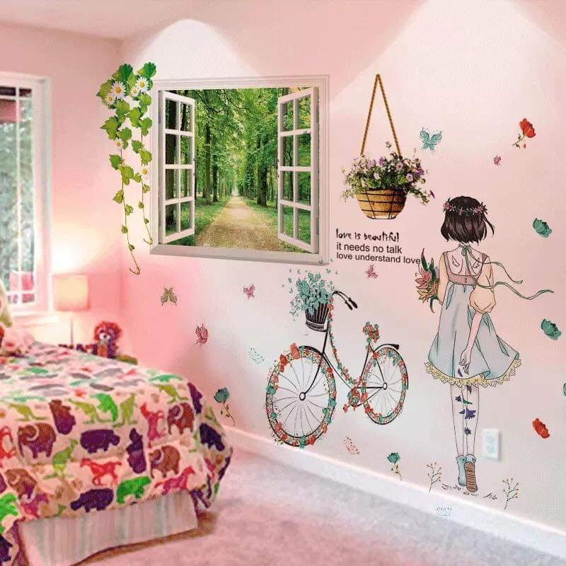 Decal dán tường Cửa sổ xanh và cô gái xe đạp - HP201