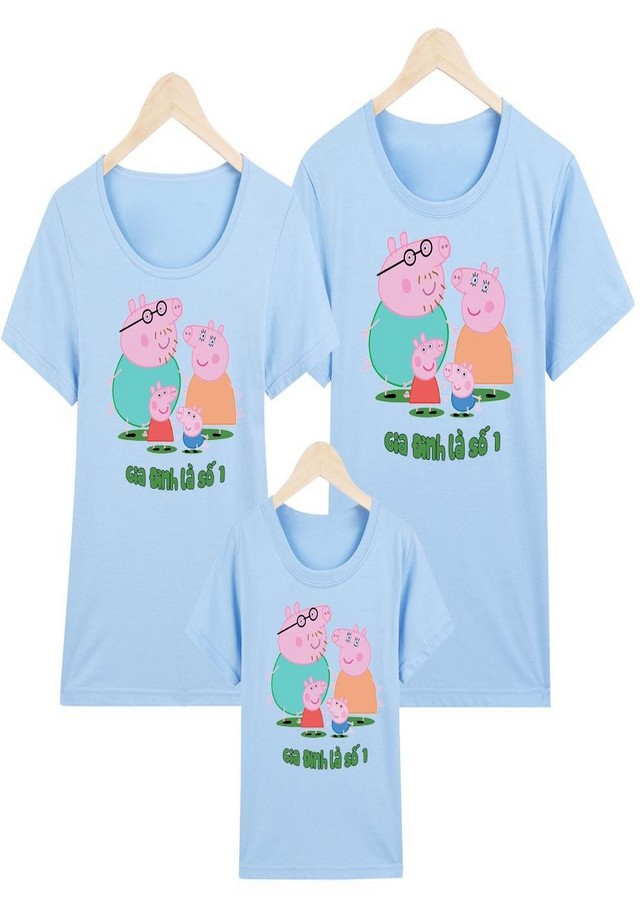 Yano áo gia đình xanh lá peppa pig