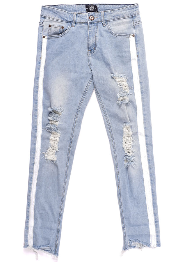 Quần nữ DISTRESSED STRIPES SLIM FIT JEANS IN WASH LIGHT BLUE