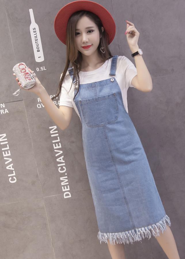 6089325729470 - Đầm Yếm Jean đẹp có túi Doremon trước và chân đầm thì rách te tua dễ thương (Xanh đậm, Xanh nhạt) J001