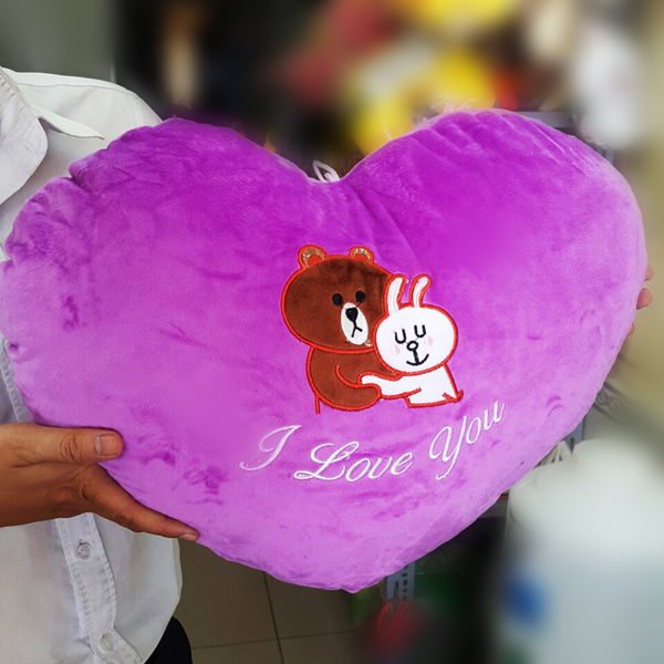 Gối ôm trái tim thỏ cony và gấu brown (45 cm) g07 (Màu Tím)