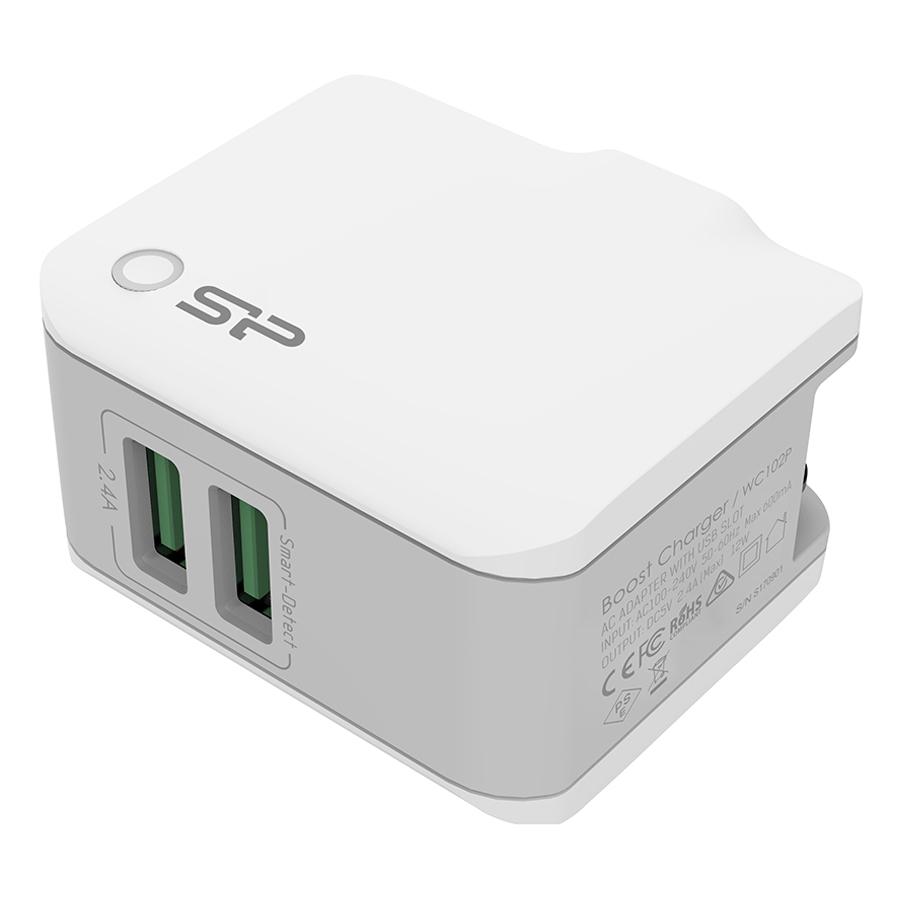 Adapter Sạc Boost Charger WC102P 2 Cổng USB Silicon Power - Hàng Chính Hãng