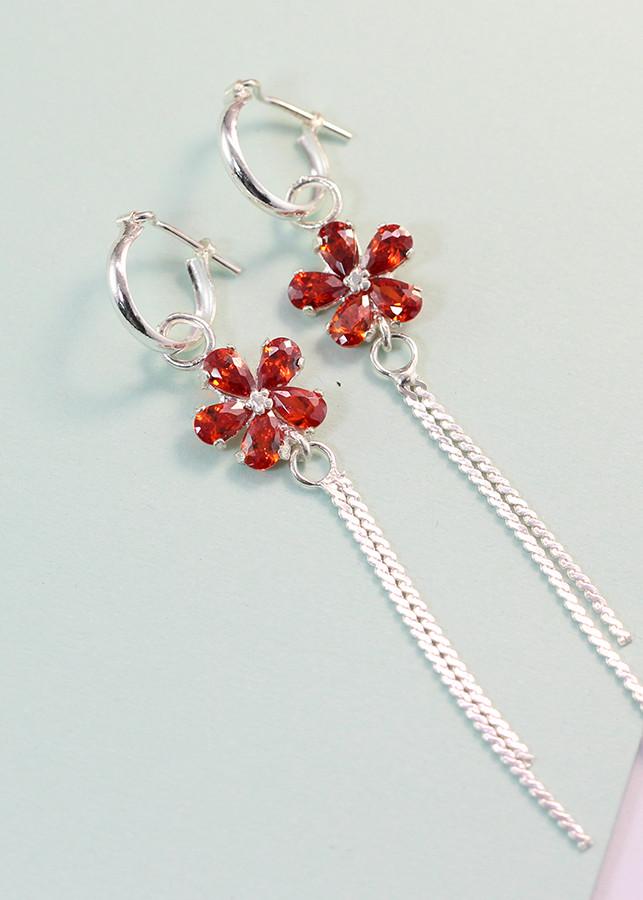 Bông tai bạc nữ đẹp đính đá đỏ BTN0059