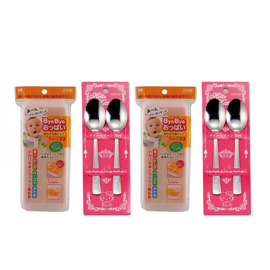 Combo Khay Đựng Đồ Ăn Dặm Cho Bé Có Nắp Đậy (12 Ngăn) + Set 2 Thìa Inox Hello Kitty Cho Bé - Nội Địa Nhật Bản - 7422521 , 6375558880836 , 62_12391462 , 440000 , Combo-Khay-Dung-Do-An-Dam-Cho-Be-Co-Nap-Day-12-Ngan-Set-2-Thia-Inox-Hello-Kitty-Cho-Be-Noi-Dia-Nhat-Ban-62_12391462 , tiki.vn , Combo Khay Đựng Đồ Ăn Dặm Cho Bé Có Nắp Đậy (12 Ngăn) + Set 2 Thìa Inox H