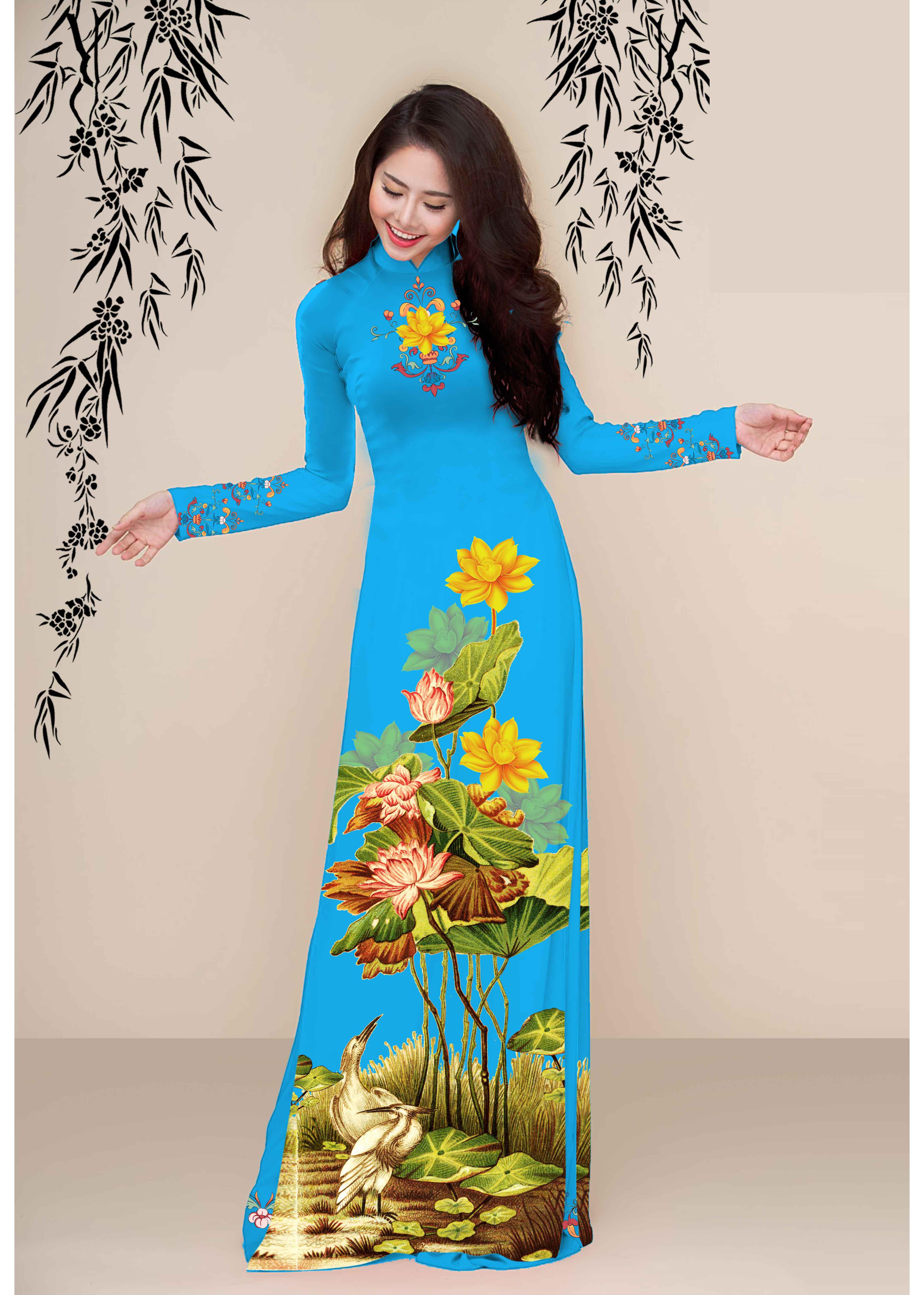 Vải Áo Dài Gấm Hoa Họa Tiết Hoa Sen Đặc Sắc GSA-AD-48