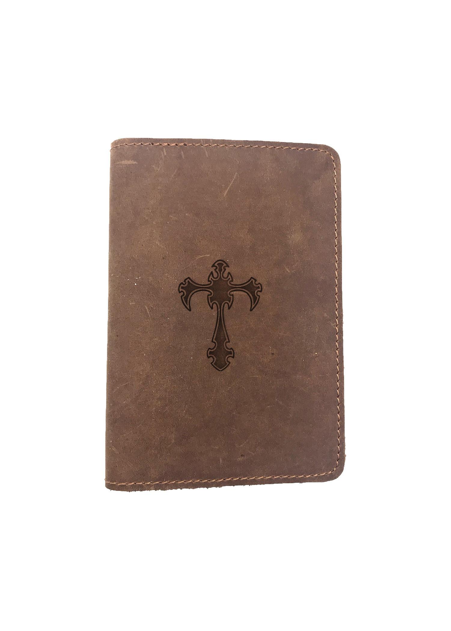 Passport Cover Bao Da Hộ Chiếu Da Sáp Khắc Hình Thánh giá CROSS 2 (BROWN)