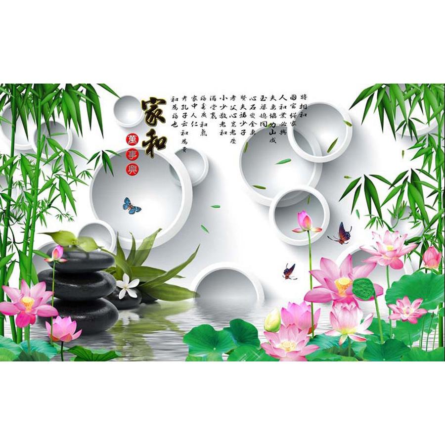 Tranh dán tường phong thủy hoa sen cá chép 3d 311