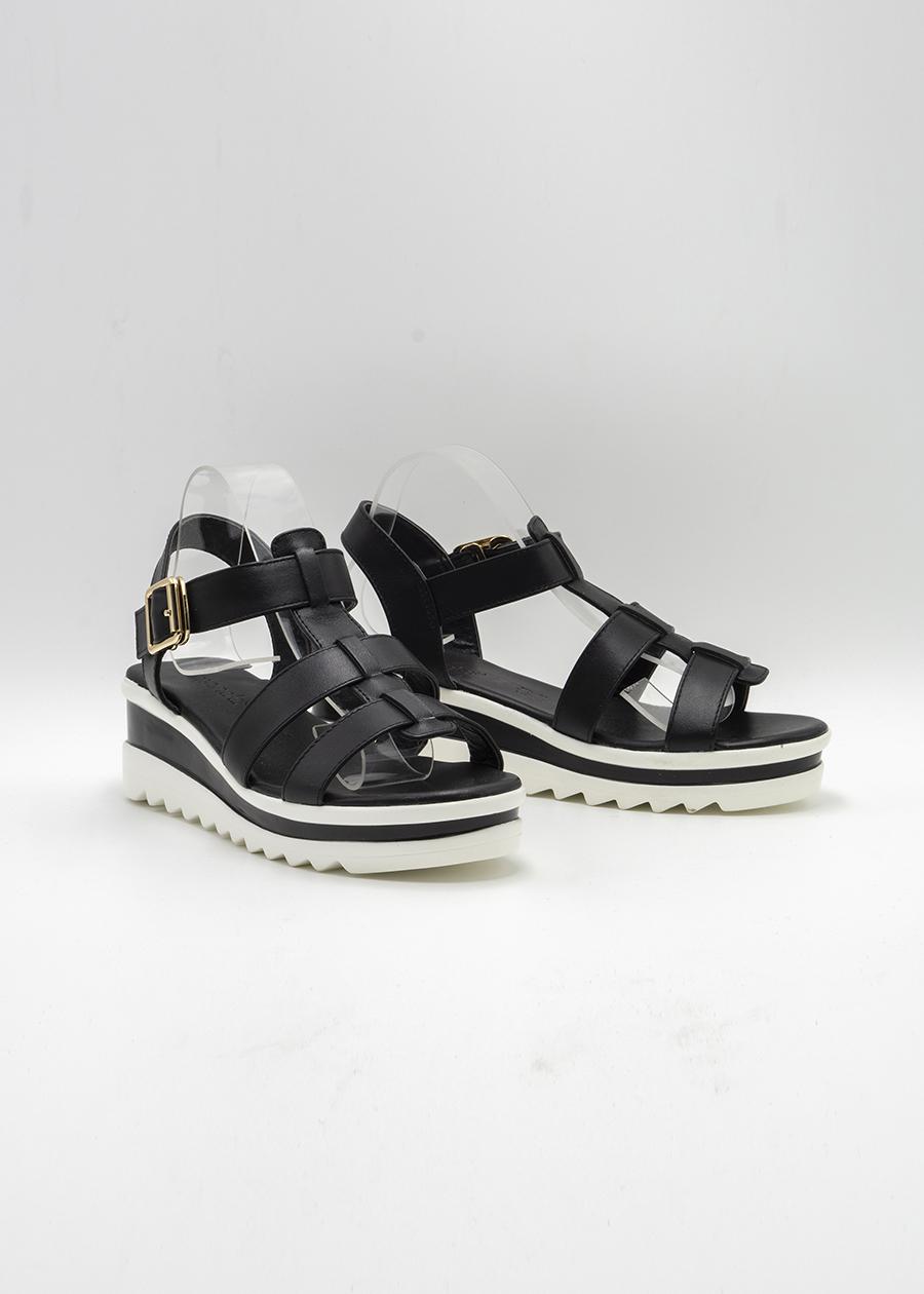 Giày Sandal Lamnda Đế bằng Màu Đen KayLee