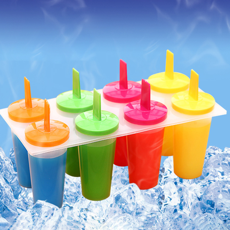 8 Cell Mold Popsicle Maker Lolly Mould Tray Pan Kitchen Frozen Ice Cream Supply