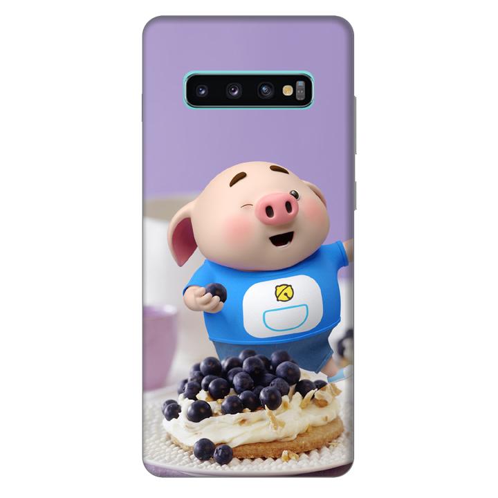Ốp lưng nhựa cứng nhám dành cho Samsung Galaxy S10 Plus in hình Heo Con Ăn Trái Cây