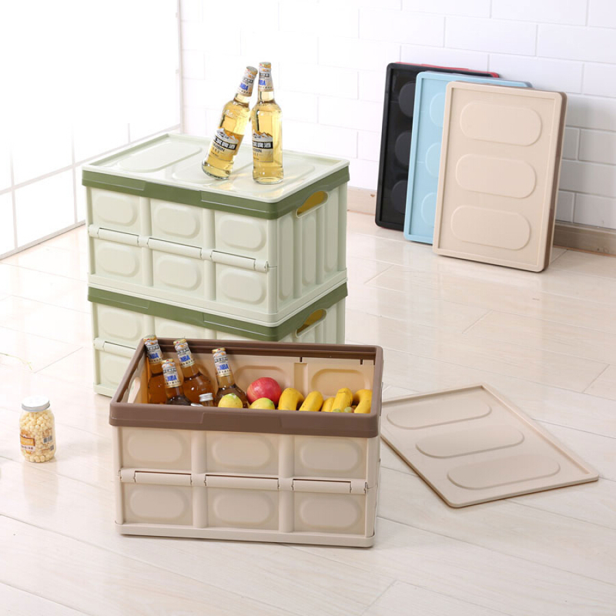 Jiayi collapsible storage rack plastic box with lid trunk multi-function large toy storage moving storage box (green)