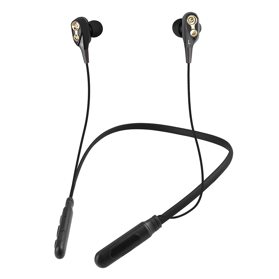 Sports Bluetooth 5.0 Headphones Dual Moving Coil In-ear Headset Neckband Style Wireless Music Earphone Line Control
