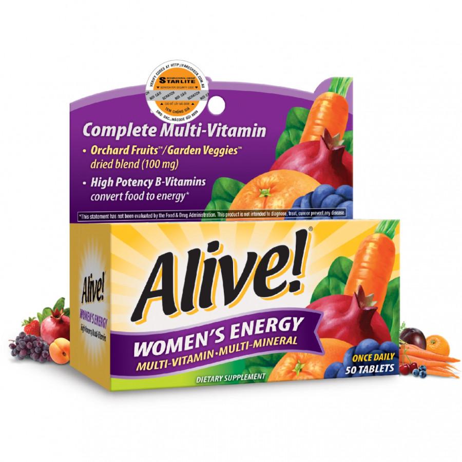 Thực phẩm chức năng Vitamin Tổng Hợp Nữ Giới Alive Women's Energy, 50 Viên
