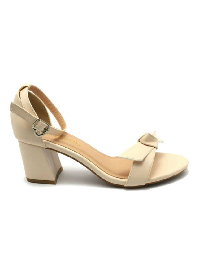 Giày Sandal Nữ Cao Gót Quai Nơ Cindydrella C140K - Kem