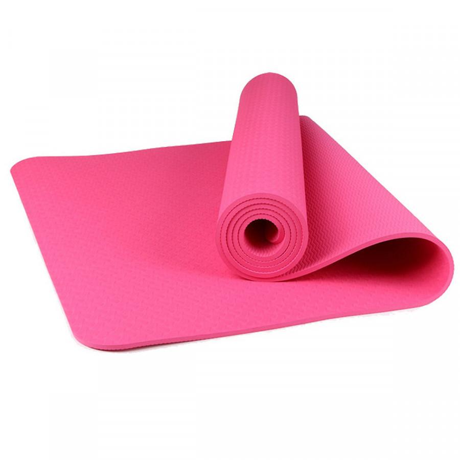 Thảm tập yoga TPE 1 lớp 8mm (Hồng) + Tặng túi đựng thảm và dây buộc thảm
