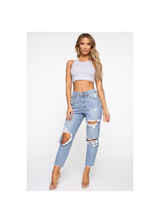 Quần Jeans Nữ A91 kiểu Mom Baggy BIGSIZE 562 (70-80kg) (Xanh)
