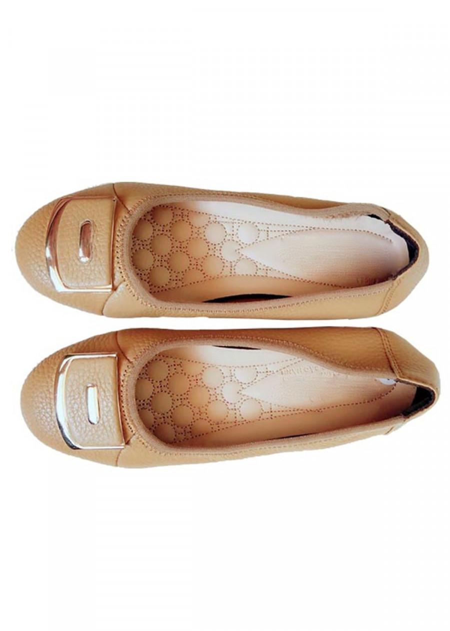 Giày Búp Bê Nữ Da Bò Nơ Thời Trang Màu Kem - TC03590