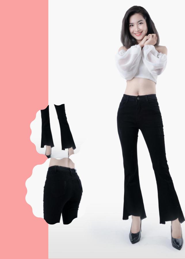 Quần jean nữ ống loe cào xước lai kiểu