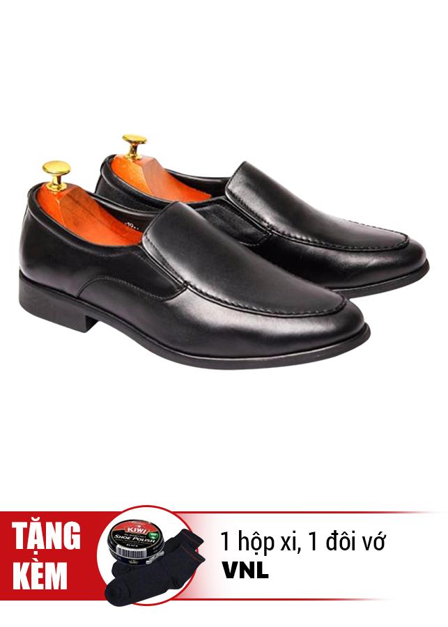 Giày Tăng Chiều Cao Da Thật VNL VNL0ALZD00D-QTXV - Đen + Tặng 1 Hộp Xi Và 1 Đôi Vớ