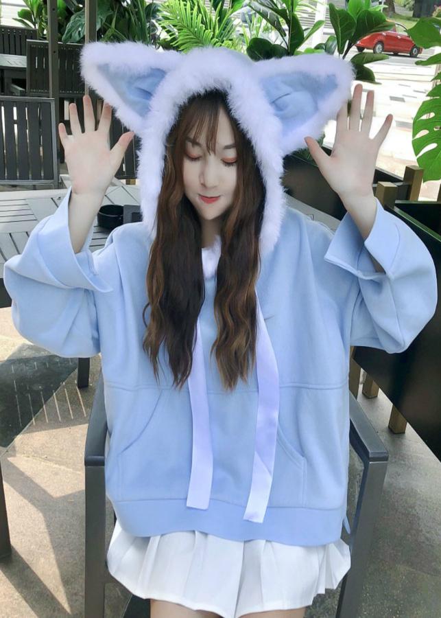 Áo hoodie nón lông tai thỏ Mã: AX3950 - XANH