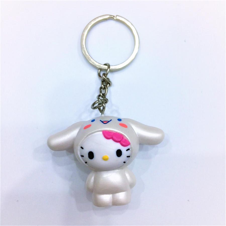 Móc khóa hình mèo tai thỏ trắng đáng yêu - 0.5COUPLE