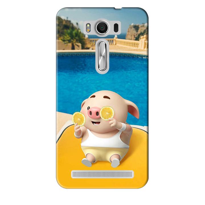 Ốp lưng nhựa cứng nhám dành cho Asus Zenfone 2 Laser ZE550KL in hình Heo Tắm Bể Bơi