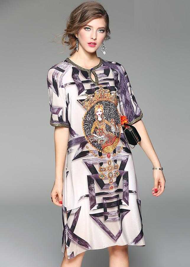 Đầm suông dạo phố kiểu đầm suông in họa tiết cô gái ROMI1634