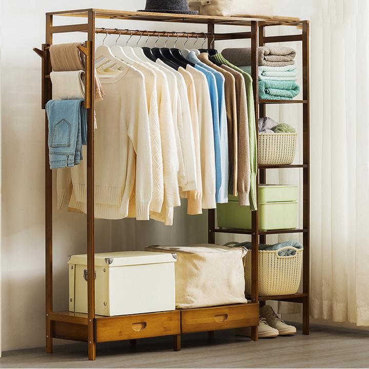 Kệ tủ treo quần áo tre khối cao cấp kèm ngăn kéo GT06