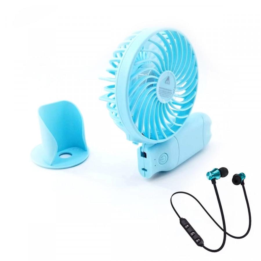 Quạt cầm tay N10 kiêm sạc dự phòng 2400mAh quạt tích điện mini 3 cấp độ gió - Tặng tai nghe không dây thể thao