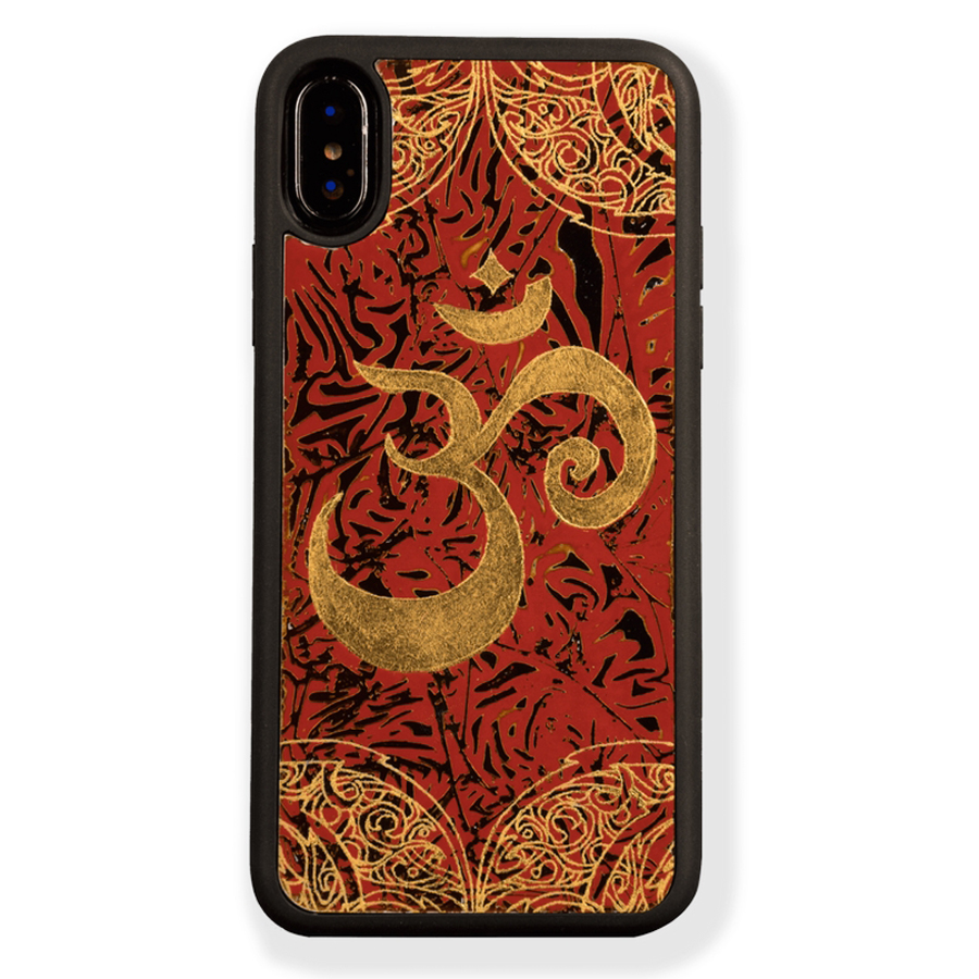 Ốp Lưng Điện Thoại Sơn Mài Biểu Tượng Om Vàng Dành Cho iPhone XS Max La Sonmai