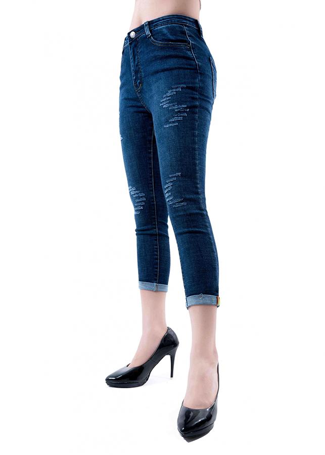 Quần jean nữ 9 tấc xanh đen cào lai lật