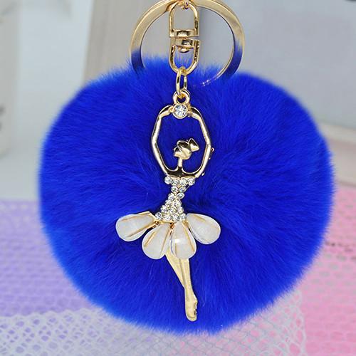Women Fashion Cute Angel Fur Ball Keychain Handbag Key Ring Car Key Chain