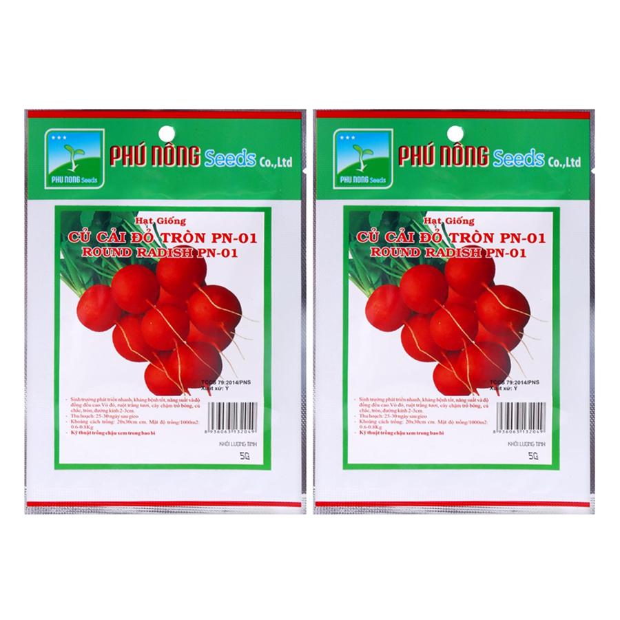 Bộ 2 Gói Hạt Giống Củ Cải Đỏ Tròn PN-01 Phú Nông (5g / Gói)