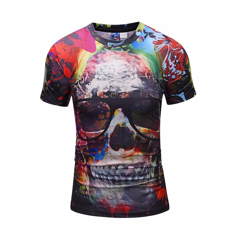 Skull with Glasses T shirt Skeleton T-shirt Gun Tshirt Gothic shirts Punk Tee rock t shirts 3d t-shirt male styles BL-422