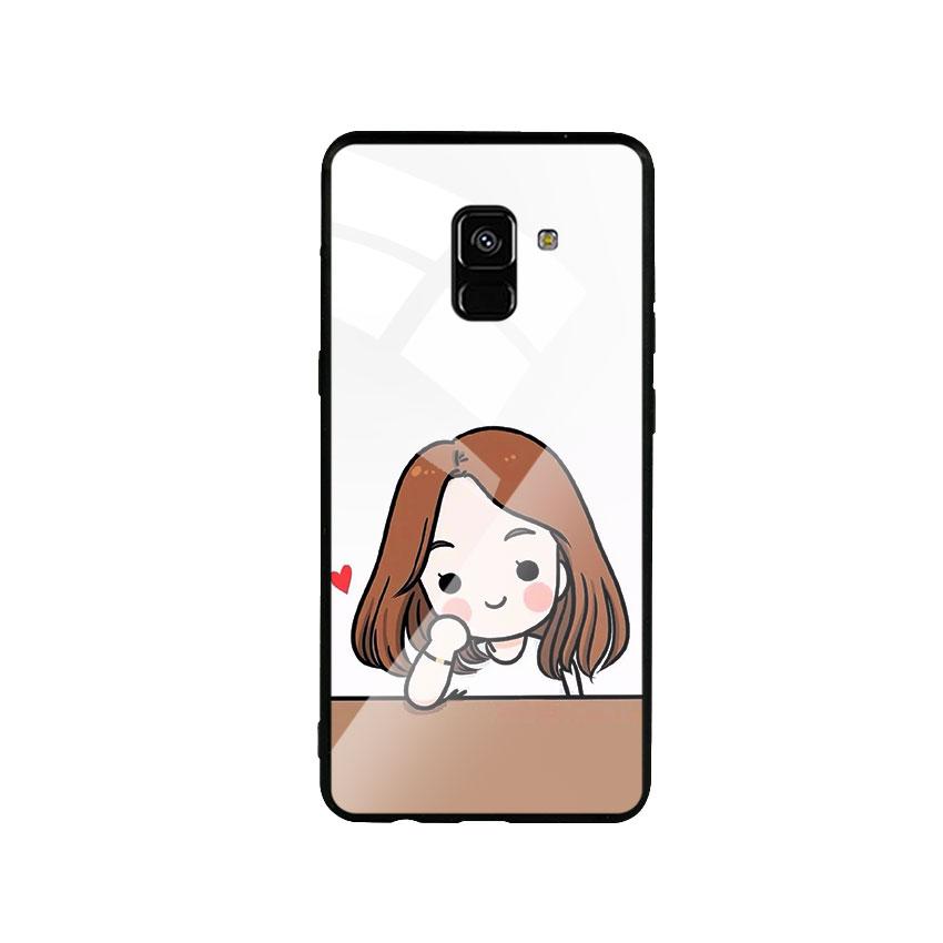 Ốp Lưng Kính Cường Lực cho điện thoại Samsung Galaxy A8 Plus - Couple Girl 03
