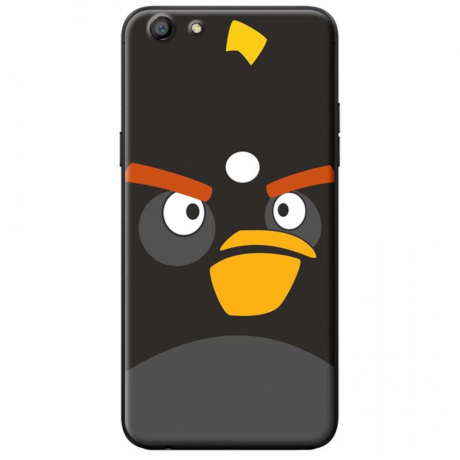Ốp lưng dành cho Oppo A71 mẫu Mặt Angry bird đen