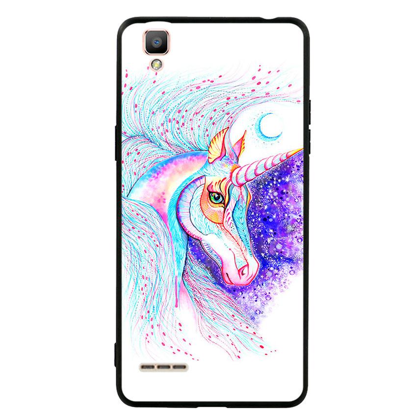 Ốp lưng nhựa cứng viền dẻo TPU cho điện thoại Oppo F1 - Horse 01