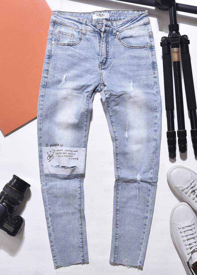 Quần jean nam xanh nhạt rách gối chất jean thun co giãn cao cấp mẫu mới 2019